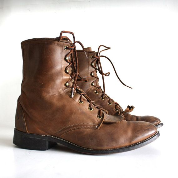 vintage leather mens laced up combat boots size 12