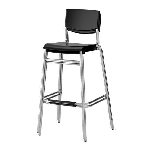 Stig Bar Stool With Backrest Black Silver Color