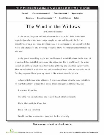 Punctuation: The Wind in the Willows
