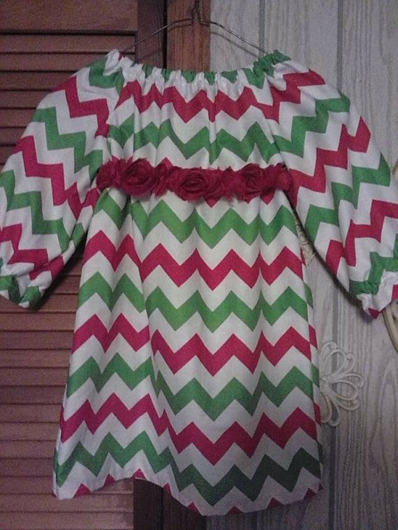 Christmas chevron peasant style dress 0 3 months to girls 7 8 availa