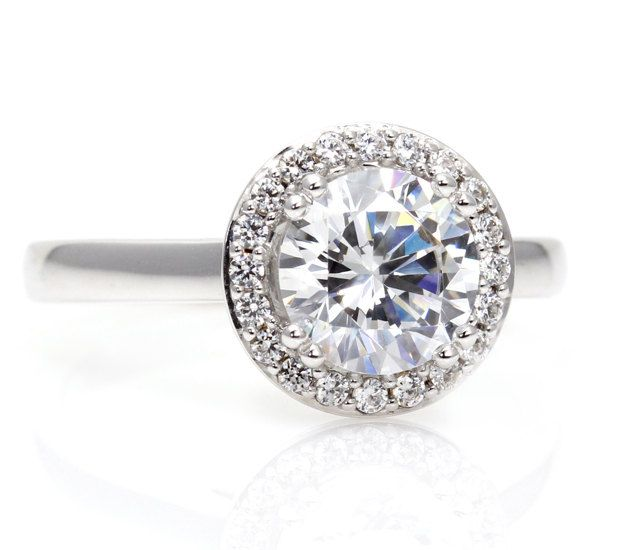 14k moissanite engagement ring halo plain band