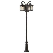 bay 3 head triple light outdoor driveway path post lantern aged iron. Black Bedroom Furniture Sets. Home Design Ideas