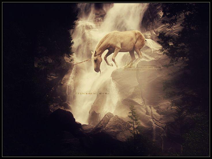 unicorn and waterfall