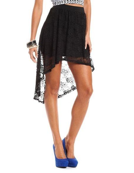 Floral Lace Hi-Low Skirt: Charlotte Russe