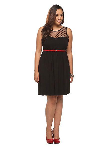 Black swiss dots mesh yoke dress torrid