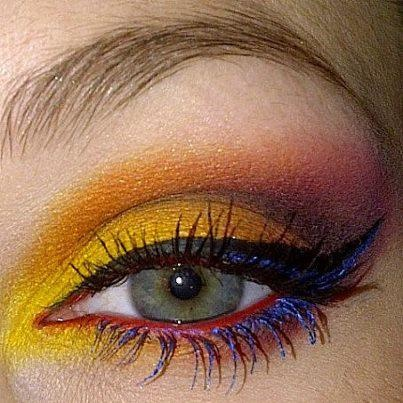 Yellow red with blue.