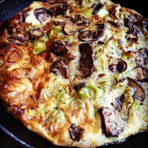 Lazy Saturday Mushroom and Leek Frittata with Goat Cheese, Gruyere ...