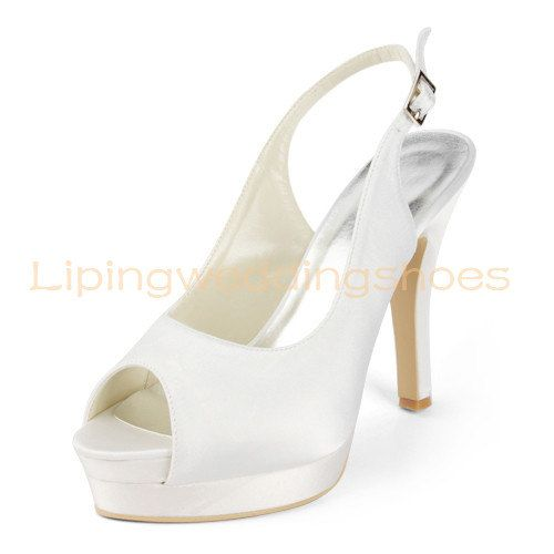 ivory slingback wedding shoes for bridal satin fabric peep toe peep