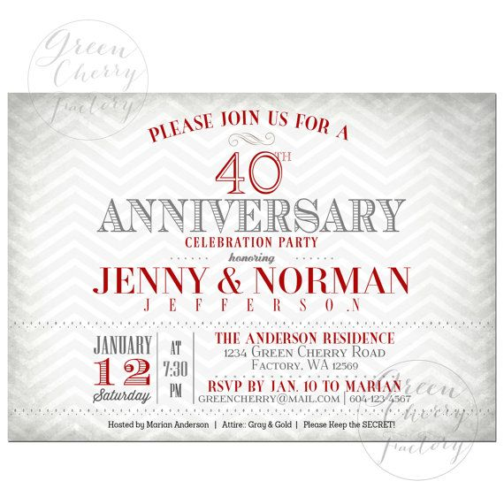 40th wedding anniversary invitation ruby red couple wedding anniv - Wedding anniversary invitations ...