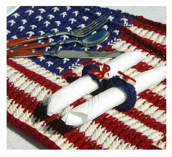 Knitted Placemat Patterns : The Knifty Knitter: Patriotic Placemat Knitting Loom Pinterest