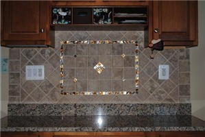 kitchen backsplash with a little bling installed by collins tile and
