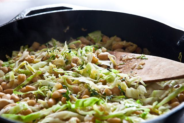 White Beans and Cabbage (and Sausage if you wanted)