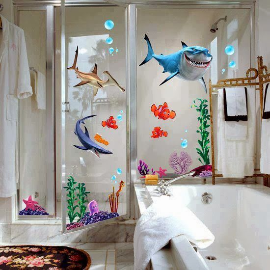 Shark tales themed bathroom bathroom blitz pinterest for How do sharks use the bathroom
