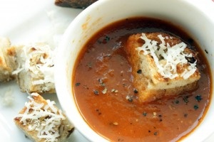 Roasted Tomato Soup with Caramelized Onion and Parmesan Croutons