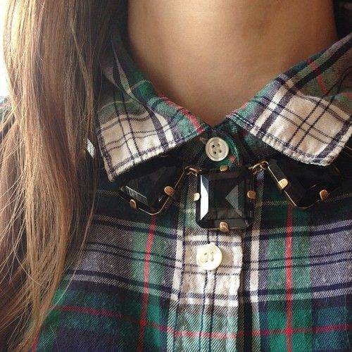 Plaid and jewels.