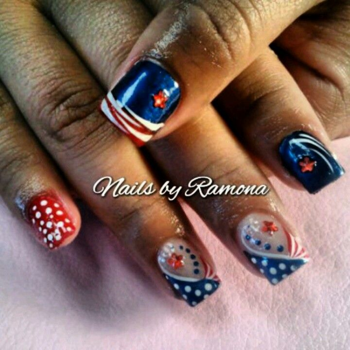 fourth of july nail art pinterest