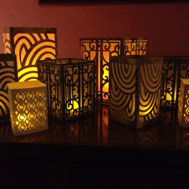 Cricut 3D Lanterns in an assortment of cardstock. Translucent layer is tracing paper.