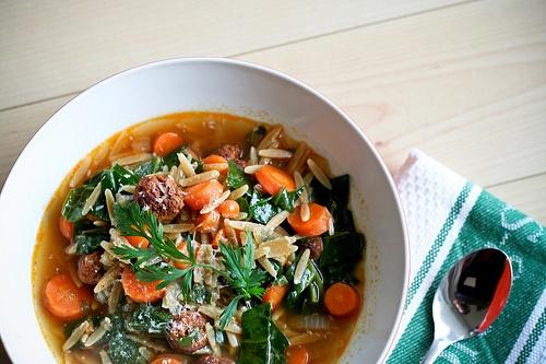 Orzo Soup with Merguez Lamb Meatballs | Recipes - Lamb | Pinterest