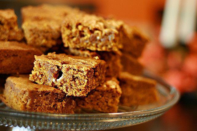 Pumpkin Blondies (try using butterscotch chips instead of vanilla)