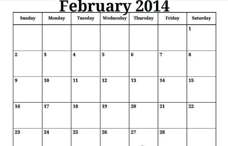 ... Calendar   2014 Plain Monthly Calendar   Printable Calendar Template