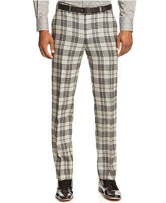 Tallia Orange Pant, Black and Cream Tartan Pant- Slim Fit - Pants - Men - Macy's