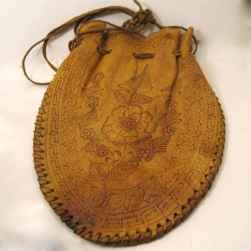 Vintage Tooled Leather Pouch Reticule Purse
