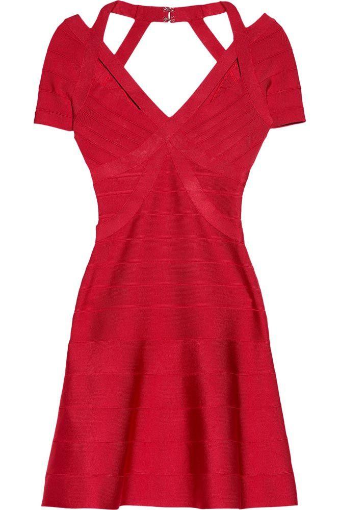 Vestidos en linea A. Vestido rojo de Hervé Leger, en net-a-porter.com