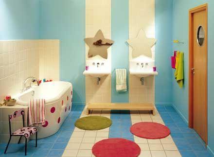 Salle de bain enfants miroirs toiles se pr lasser dans - Salle de bain enfants ...