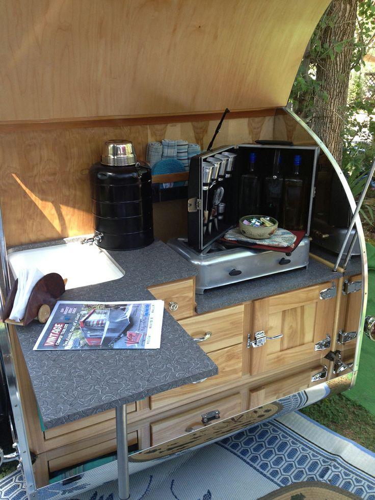 Teardrop trailer kitchen ideas for teardrop trailer for Teardrop camper kitchen ideas