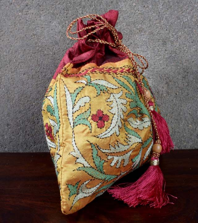 Yellow & Red Pure Silk Potli Bag With Kantha Work