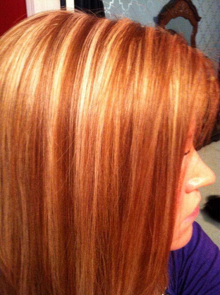 hair blonde highlights redhead