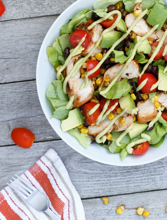 BBQ Chicken Salad with Avocado Dressing | Recipe
