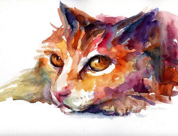 Watercolor orange tubby cat print by svetlana novikova