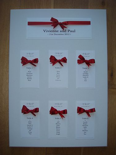Wedding Seating Plan in Scarlet Red