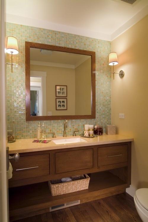 Tile Wall Behind Vanity Open Shelf Bathroom Pinterest