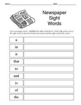 newspaper terms worksheet These reading worksheets help support key literacy skills, such as sight words and reading comprehension.