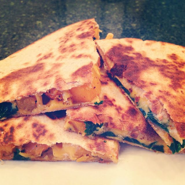 butternut squash & kale quesadilla via The Pioneer Woman