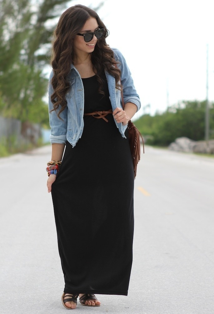 black maxi dress denim jacket looks with flats no