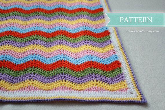 Easy Ripple Crochet Baby Blanket Pattern : Crochet Pattern - Simple Ripple Baby Blanket (Pattern No ...