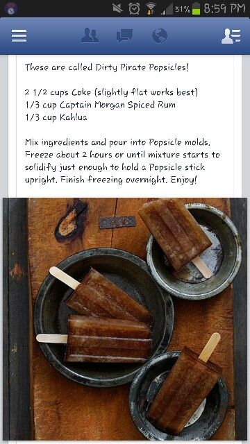 Dirty Pirate Popsicles - use Gosling's Rum