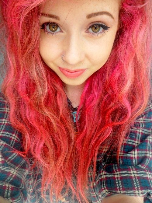 Red And Coral Mixed Hair  Hair Dye  Pinterest