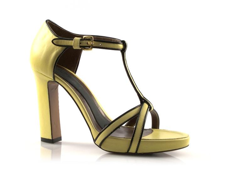 Marni women's sandals with platform in yellow Lambskin - Italian