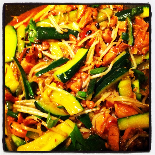 ... in Ginger Garlic Black Bean Sauce with Green Squash and Bean Sprouts