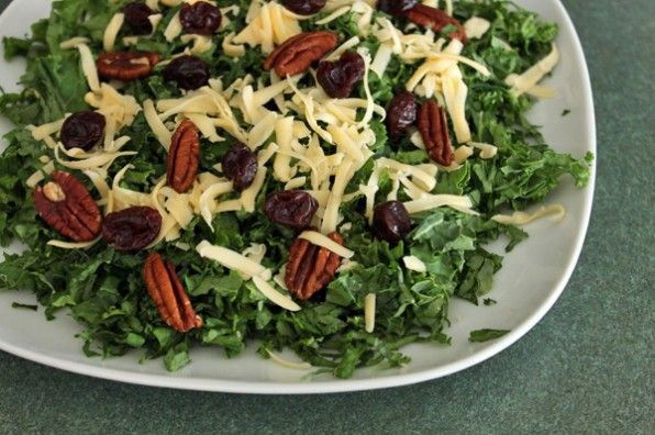 Finished Kale salad with Pecans, Dried Cherries and Gouda Whole salad ...