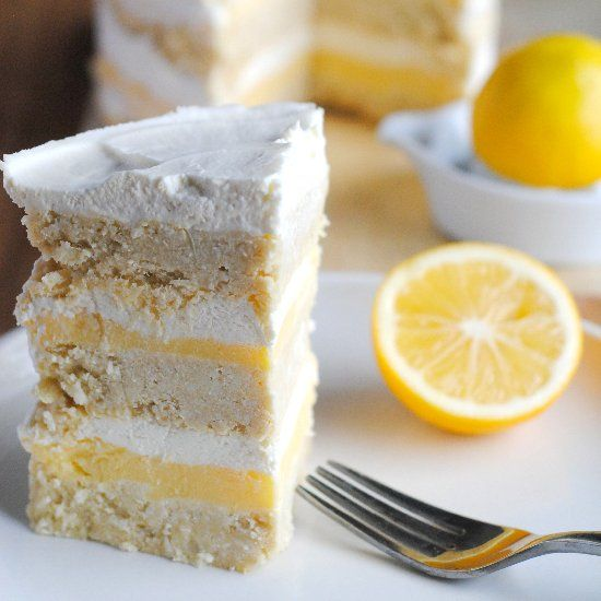 Coconut Lemon Layer Cake- Gluten-free and Sugar-free.