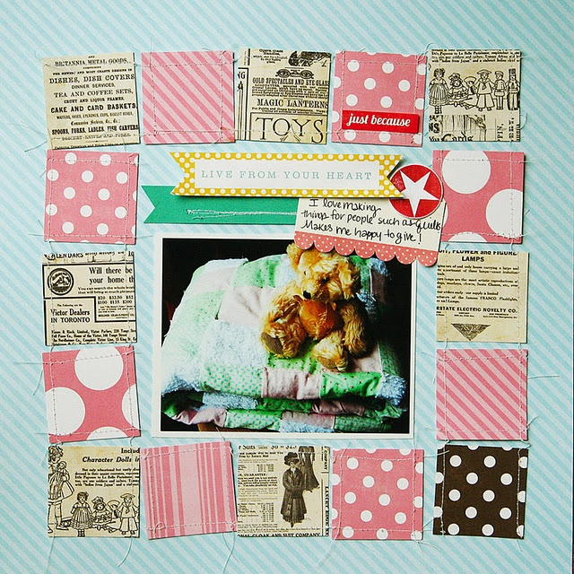 Liking the use of scraps as a frame! another neat use of squares