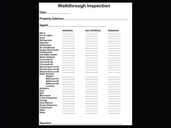 Checklist for property inspection walkthrough for Apartment walkthrough checklist template