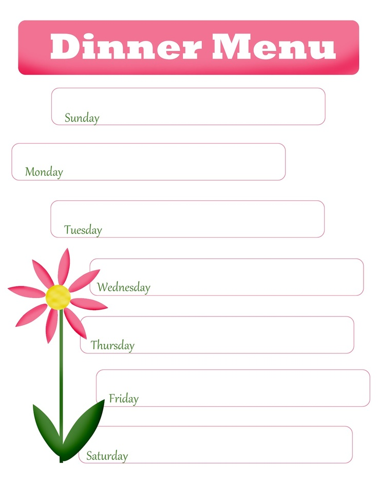 Blank Menu Planner Cake Ideas and Designs