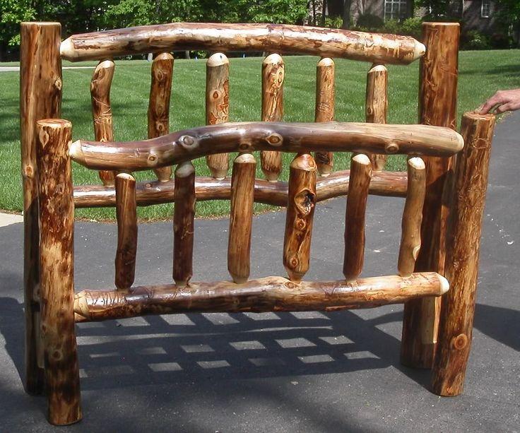 Amish Rustic Log Bed Cabin Lodge Bedroom Furniture Solid Aspen Wood Q