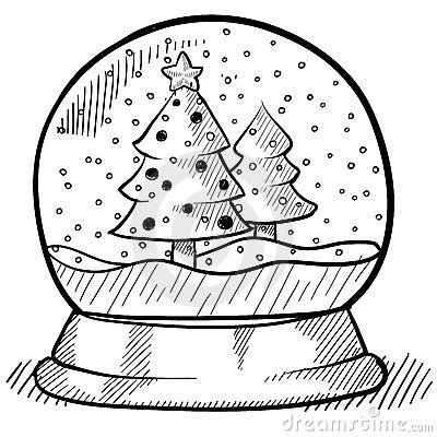 Snowglobe Drawing Snow Globes Pinterest
